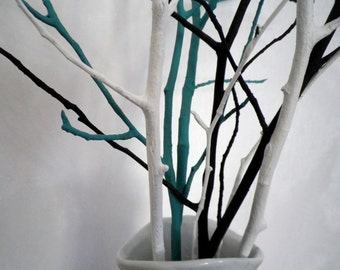 Tree branches home decor vase filler 28'' set of 6 teal /white /black colors, modern minimalist woodland table centerpiece, party decoration