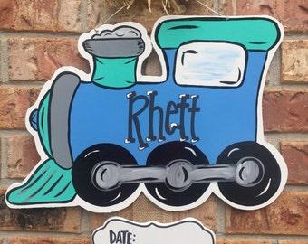 Train door hanger, choo choo train, hospital door hanger, boy door hanger, nursery decoration, choochoo door hanger, baby boy door hanger
