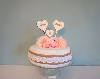 Wooden Wedding cake topper, Personalised heart cake topper