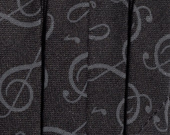 Black & Gray Music Note Patterned Bias Tape