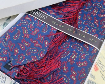 Lovely Vintage 1960's Unused Boxed 'Sammy' Paisley Scarf & Tie Set