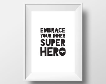 Batman Decal, Superhero Party, Batman Print, Superhero Birthday, Typography Print, Nursery Wall Art, Superhero Print, Quote Print