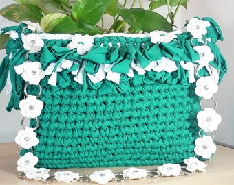 Crochet Green Shoulder Bag, Summer Shoulder Bag, Lycra Bag