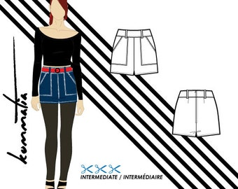 "High waist shorts with pockets and belt loops 5cm 2"" inseam / Sewing pattern PDF for twill fabrics denim"