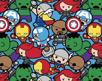 Marvel Avengers Superhero Kawaii All In The Pack Fabric - Blue - sold by the 1/2 yard