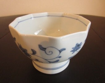 Blue and White Japanese Porcelain Decagonal Bowl from the 1990s