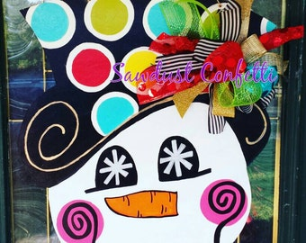 Snowman Door Hanger, Christmas Door Hanger, Snowman, Snowman Door Decor, Christmas Wreath