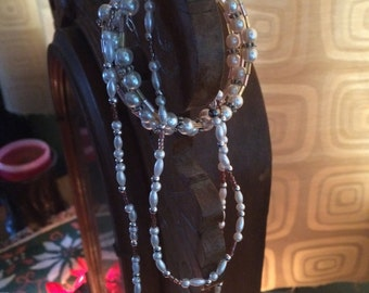18' Pearl and Delica bead necklace and braclet