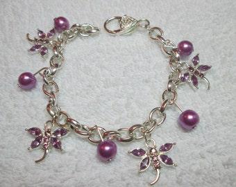 Dragonfly crystal charm bracelet