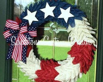 Patriotic wreath, Memorial Day, Fourth of July wreath, Red white & Blue, 4th of July wreath, Americana, Summer Burlap, Flag Wreath
