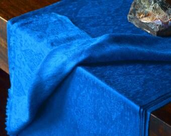 100% Pure Pashmina/Cashmere Scarf - Navy Blue/Paisley/Floral