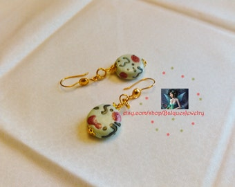 Light Creamy Sea Green Earrings E#41  One Of A Kind!