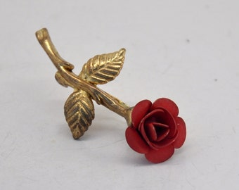 Vintage Red Rose Brooch