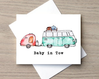 Pregnancy Announcement, Expecting Card, Baby Card, Baby Shower Invitation, Pregnancy Card , VW Van Baby Card