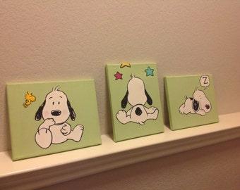Baby Snoopy Paintings set of three