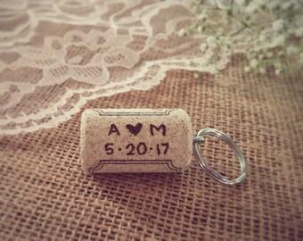 Personalized Wine Cork Keychains, Wedding Favor