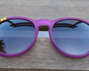 beautiful Spring-Summer Deco Flowery Sunglasses Matt Warm Colors