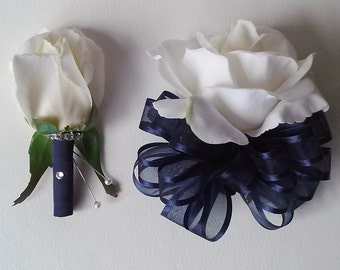 White and Navy Corsage and Boutonniere Set-Prom Corsage-Homecoming Flowers-Wrist Corsage-Blue Boutonniere