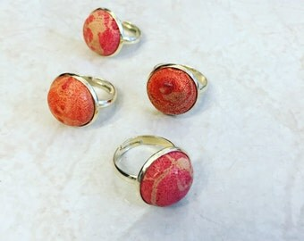 Red sponge coral ring , Gold plated solitaire ring , Gift for her.