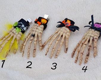 Skeleton hands // Skeleton Hair Clip // Halloween Accessory // Skeleton Hand Hair Clip // Skeleton Clip // Goth Accessory //Hair Bow //