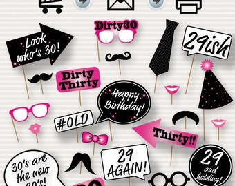 30th Birthday Party Printable Photo Booth Props Pink - Glasses, Hats, Lips, Mustaches, Speech - INSTANT DOWNLOAD - Printable Birthday Props