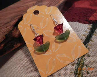 Silver-tone Red/Green Glass Tulip Earrings