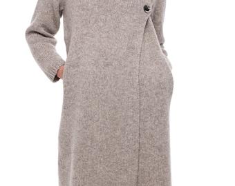 Women's Wool coat | Light brown coat |  Wool Sweater