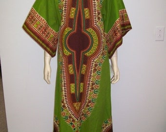 exotic green cotton caftan from Africa 1970's