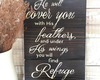 Wedding gift, Psalms 91:4 he will cover you with his feathers and under his wings you will find refuge. Scripture, hand painted sign, wall h