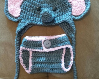 Elephant hat and Diaper Cover Set