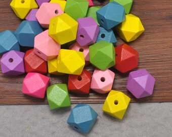 100pcs Geometric Necklace,Polyhedron Faceted Cube Wooden Beads 20mm,Colorful Geometric Beads,Hexahedron Beads,Modern Necklace,Jewelry Supply