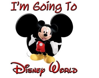 Mickey Mouse Going To Disney World Iron On T -Shirt Transfer