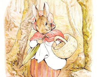 1996 beatrix potter print mrs rabbit peter rabbits mum