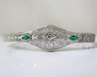 Antique art deco sterling silver filigree bracelet, Esemco, 1920s