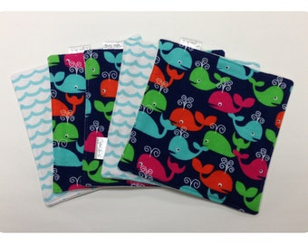 Organic baby washcloths, cloth wipes, organic bamboo, whale washcloth, flannel baby wipe, organic baby wipe, whale baby