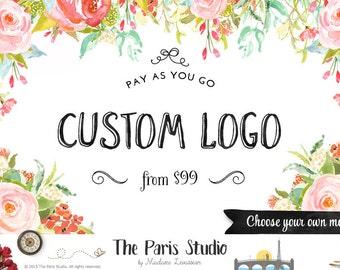 Floral Watercolor Logo Design Boho Logo Custom Logo Design Photography Logo Etsy Shop Logo Business Branding Website Logo Blog Boutique Logo