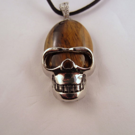 Tigers Eye Skull Necklace: Natural Crystal Pendant, Stone Jewelry