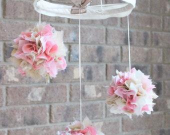 Pink gold and ivory baby mobile, shabby chic nursery decor, pom pom crib chandelier
