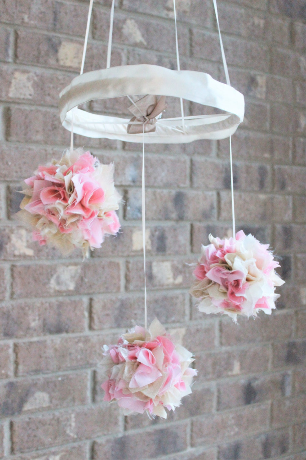 Pink gold and ivory baby mobile shabby chic nursery decor - Mobel shabby chic ...