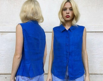 Vintage 90s Casual Corner Bright Blue Collared Button Down Double Front Pocket Line  Tank Blouse