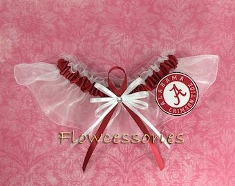 Pick Charm - University of ALABAMA CRIMSON TIDE handmade bridal wedding garter - keepsake