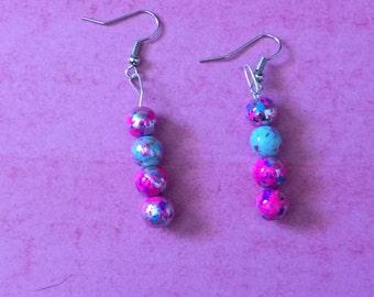 Paint splatter dangle earrings with silver metal