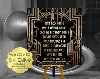 Roaring twenties party decoration. F. Scott Fitzgerald quote print. Great Gatsby party decor. Art deco poster. Gatsby wedding decor.