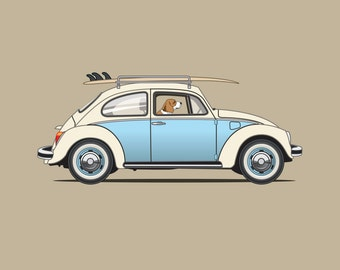 Beagle driving his VW Bug to go surfing print - 'Rusty' Dogs Driving Things Collection - Cute and Fun, perfect illustration for Nursery.