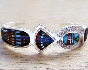 Magnificent Kachina Cosmic Inlaid Sterling Silver Bracelet size 6-3/8