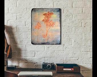 wood print Flower vintage painting woodprint on natural wood art print, home decor wood print retro print on wood