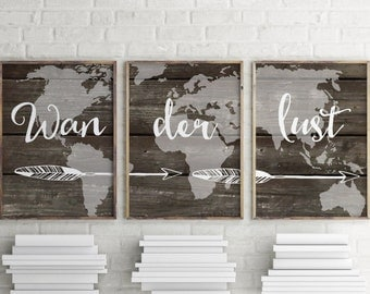 Wanderlust printable art, Set of 3 prints, Wall art, Teen room decoration ideas, Wanderlust poster, Typography print, Teen wall art  BD-626