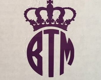 Crown Monogram Decal,  Monogram Crown Decal, Monogrammed Decal, Crown Decal