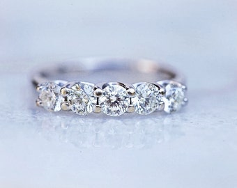 5 Round Celebration Certified  Diamond 14K White Gold Band Ring 0.96 Ct.