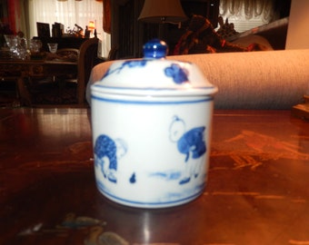 CHINA BLUE and WHITE Jar with Insert and Lid